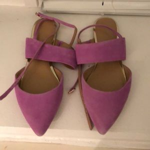 Women's lilac suede flats with ankle strap. Size 8